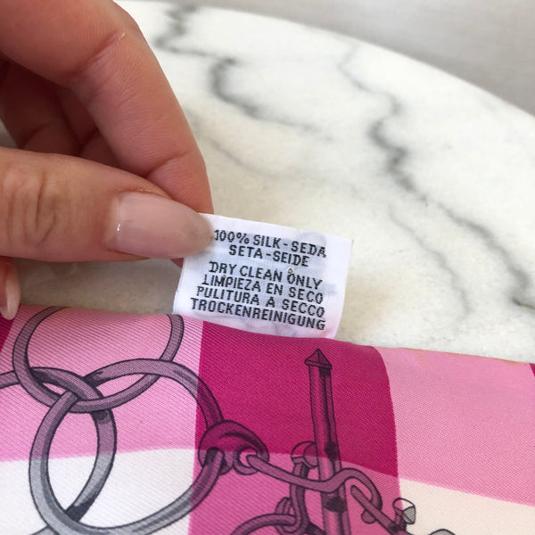 Hermes Pink/White Silk Twilly