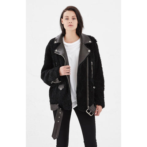 "Acne Studios Black ""More Teddy"" Shearling Biker Jacket Size 34 (fits US 4-6)"