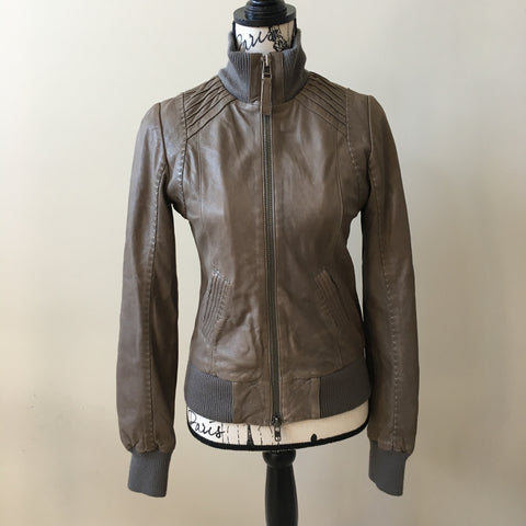 Mackage Grey Leather Jacket Size Small