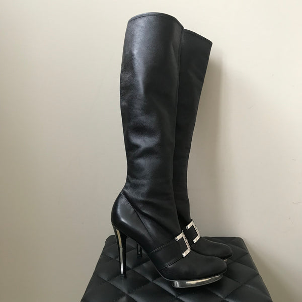 Versace Tall Knee High Black Leather Stretch Platform Boots Size 41