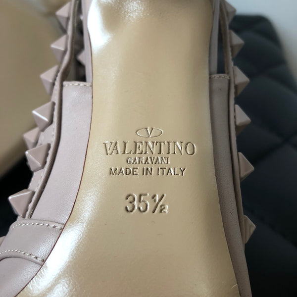 Valentino Beige/Poudre Smooth Leather Rockstud Pumps Size 35.5