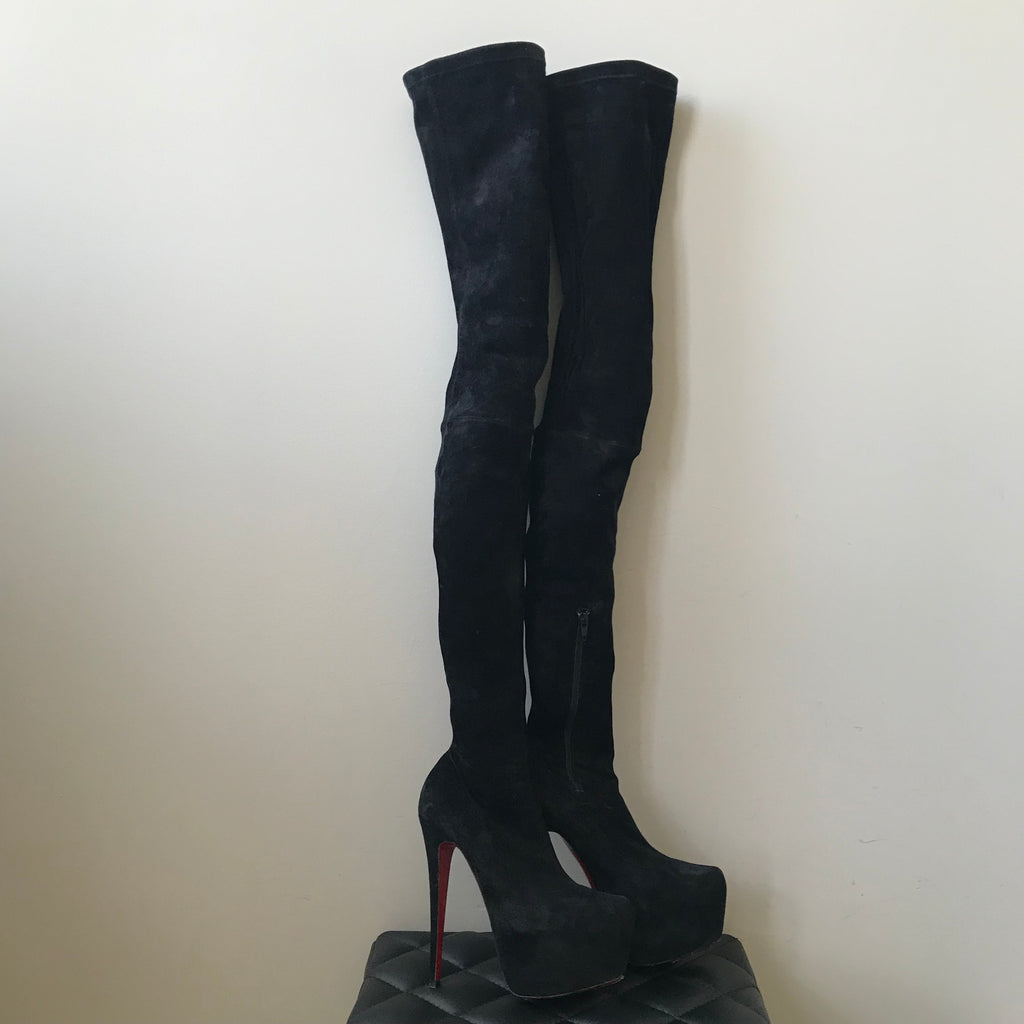 25502915c8c Christian Louboutin Black Monicarina Thigh High Suede Platform Boot ...