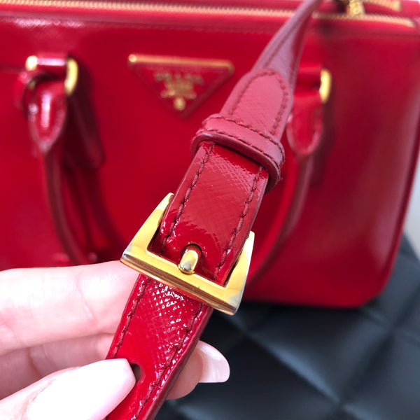 Prada Rosso (Red) Saffiano Vernice Mini Double Zip Crossbody/Shoulder Bag