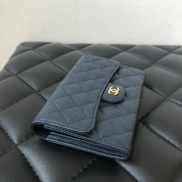 Chanel Navy Blue Caviar Flap Wallet