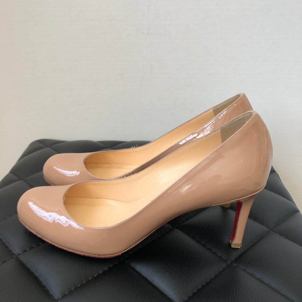 Christian Louboutin Nude Patent Leather Pigalle Heels