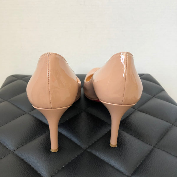 Christian Louboutin Nude Patent Simple Pumps Size 37.5
