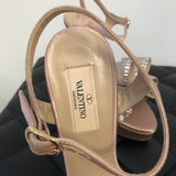 Valentino Blush Satin Mesh Bow Crystal Sandals Size 37