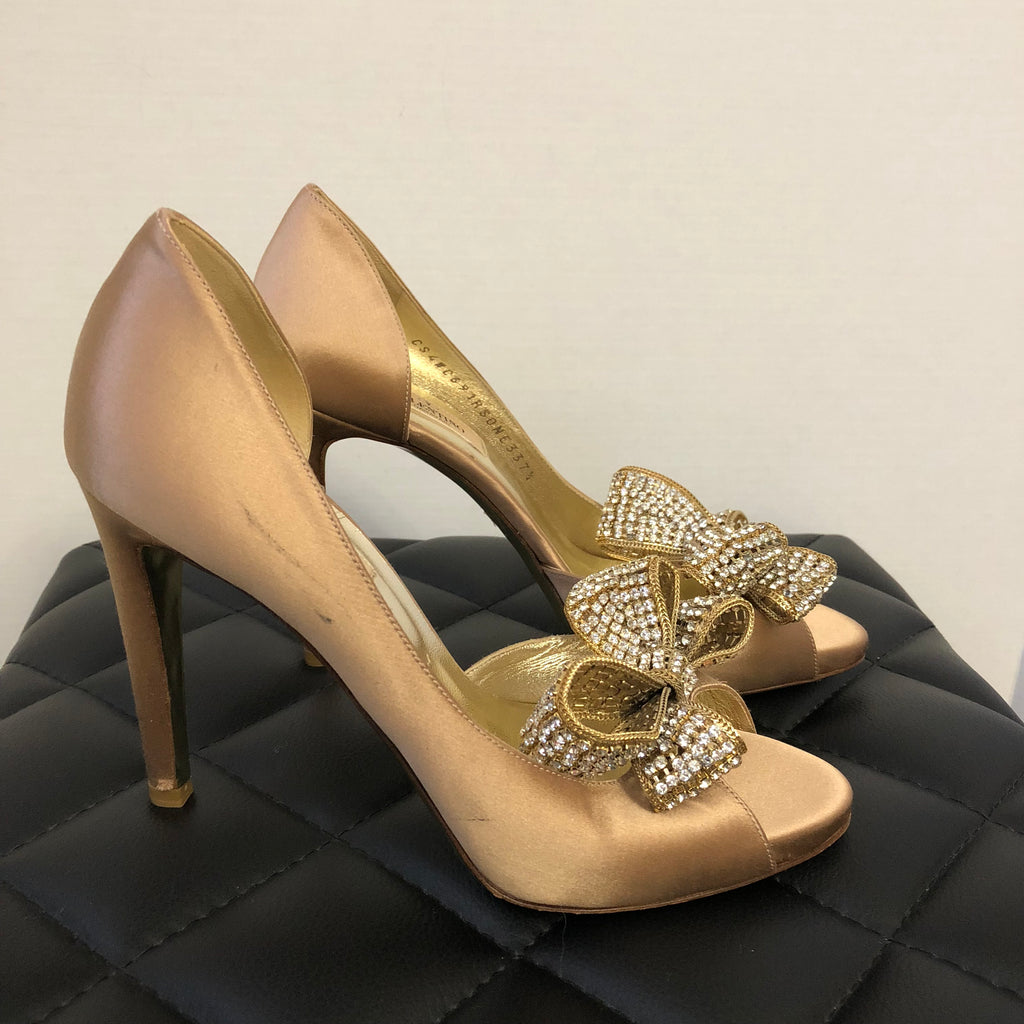 8eb282e1a5fd8 Valentino Beige Satin Bow Crystal D'orsay Pumps Size 37.5   Forever Red  Soles