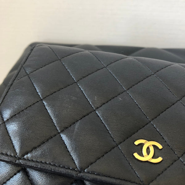 Chanel Black Lambskin Wallet on Chain (WOC) with Gold Hardware