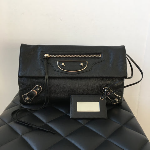 Balenciaga Black Metallic Edge Envelope Clutch