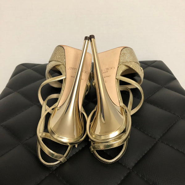 Jimmy Choo Gold Glitter/Mirror Metallic Leather Liddie Platform Sandals Size 36