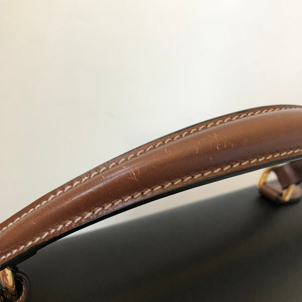 Gucci Medium Brown/Black GG Supreme Padlock Top Handle Bag