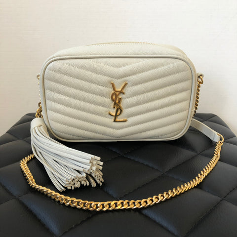 SAINT LAURENT Crema (White) Mini Lou YSL Monogram Grained Leather Camera Crossbody Bag