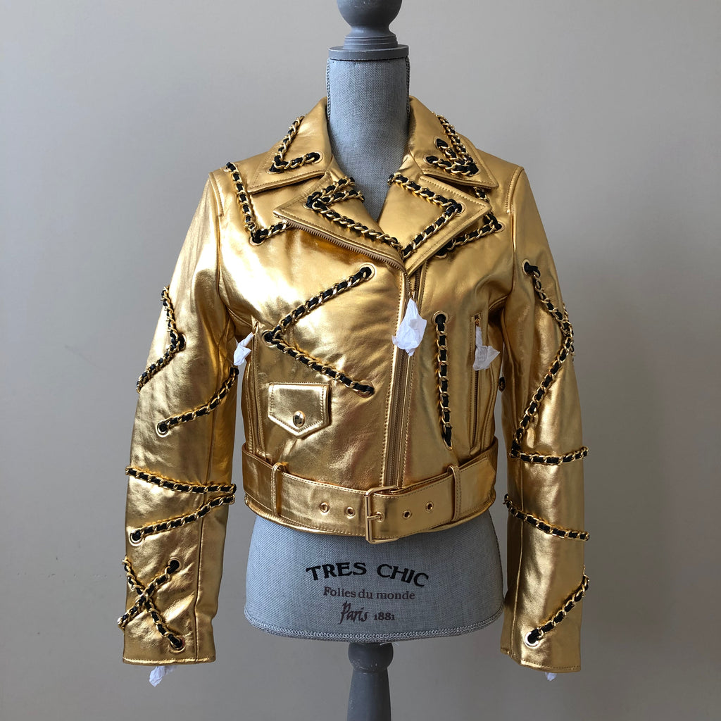 c4c0b498c103 MOSCHINO x H M Exclusive Gold Leather Biker Jacket Size Medium (fits ...