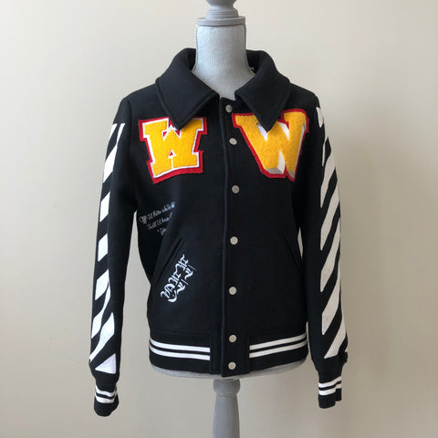 OFF-WHITE c/o VIRGIL ABLOH Patches Varsity Bomber Black/White/Yellow Jacket XS Men/44 IT (or Ladies US 4-8)
