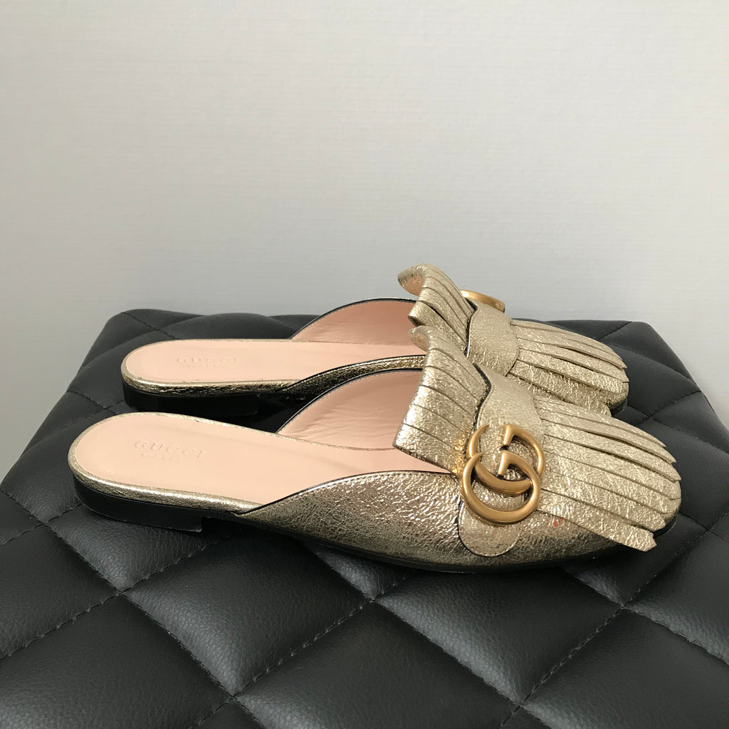 5f5b4aad9fc Gucci Marmont Metallic Laminate Leather Mules Size 38.5