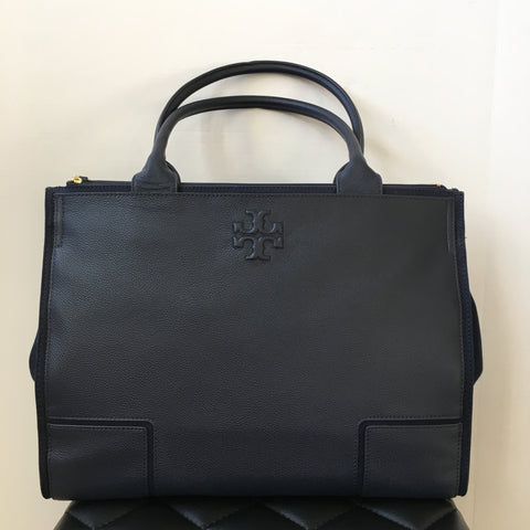 Tory Burch Navy Blue Large Leather Tote