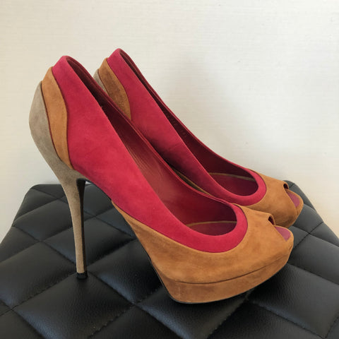 Gucci Multicolor Suede Open Toe Pumps Size 38.5