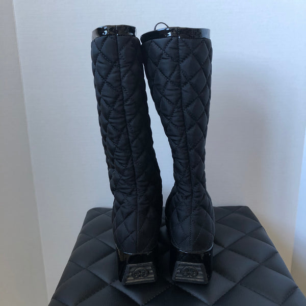 Tory Burch Black Nylon Gigi Boots Size 7.5