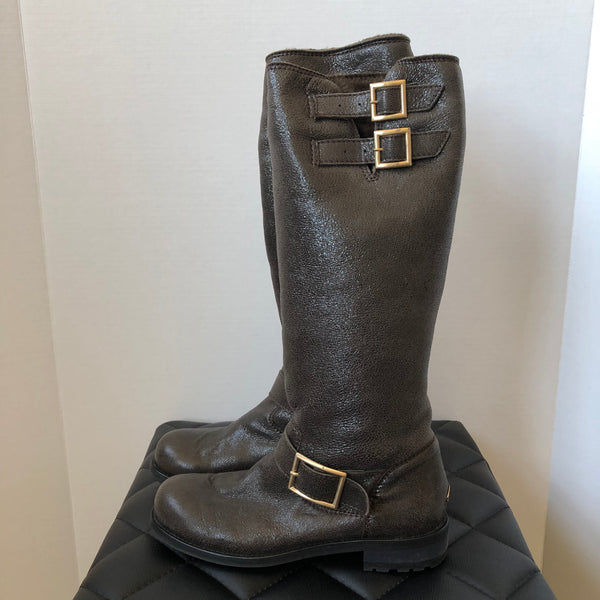 Jimmy Choo Brown Shimmer Shearling Boots Size 36.5