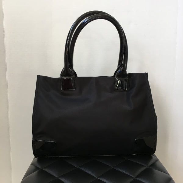 Tory Burch Black Nylon/Patent Tote