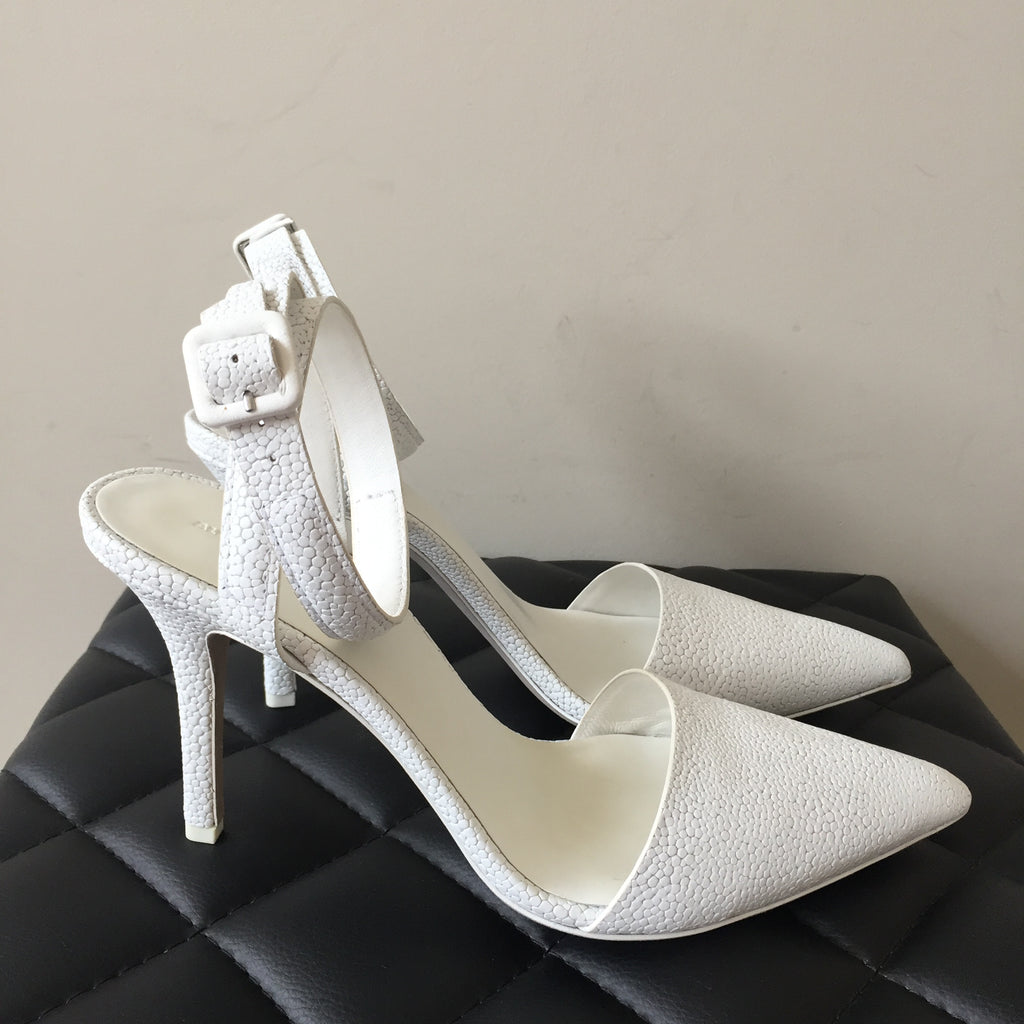 5690b13b0cd Alexander Wang White Textured Lovisa Pumps Size 41