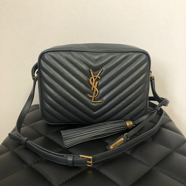 Saint Laurent Dark Grey Lou Camera Tassel Crossbody Bag