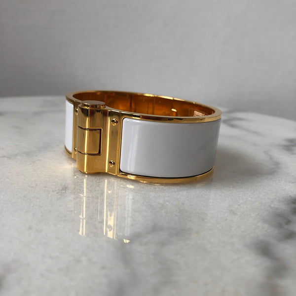 Hermès White and Gold Tone Hardware Charniere Uni Wide hinged bracelet