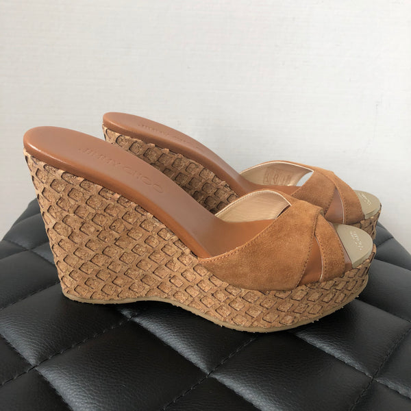 Jimmy Choo Brown Suede Wedges Size 36.5