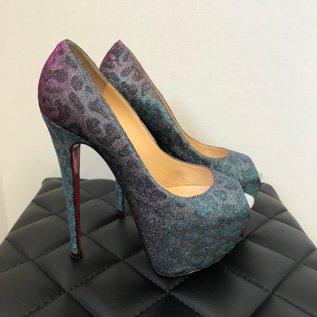 release date: 78843 6a9d3 Christian Louboutin Highness 160 Lame Leopard Metallic Turquoise/Violet  Pumps Size 38