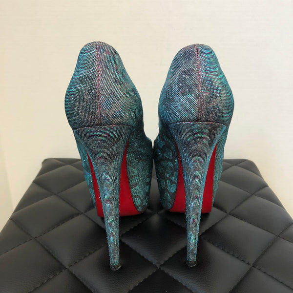 Christian Louboutin Highness 160 Lame Leopard Metallic Turquoise/Violet Pumps Size 38