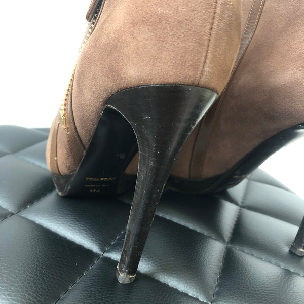 Tom Ford Brown Suede Ankle Boots Size 37.5