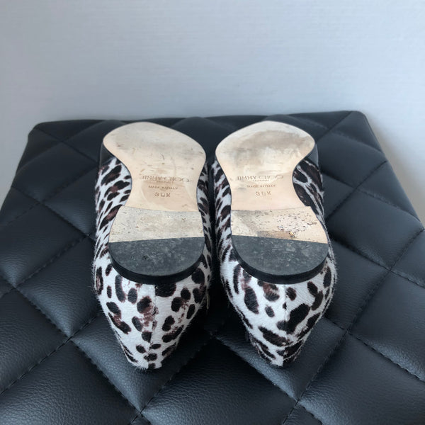 Jimmy Choo Black Patent Gamble Crisscross Ballerina Flat with Leopard-Print Calf Hair Size 38.5