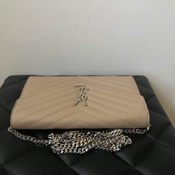 Saint Laurent Beige Textured Matelasse Leather Large WOC