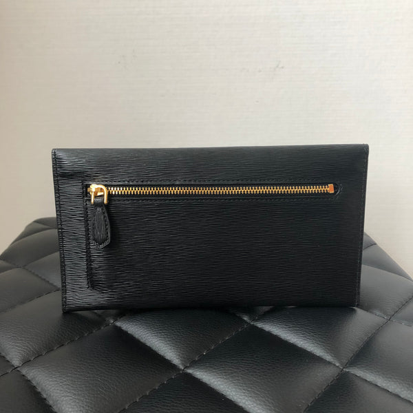 Prada Black Vitello Move Envelope Flap Wallet