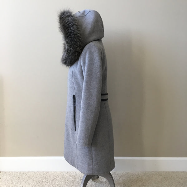 Soia & Kyo CHARLENA Slim Fit Grey Wool Jacket with Removable Fur Size Small