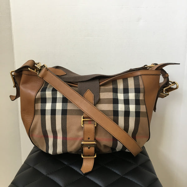 Burberry Tan Check Canvas/Leather Shoulder/Crossbody Bag