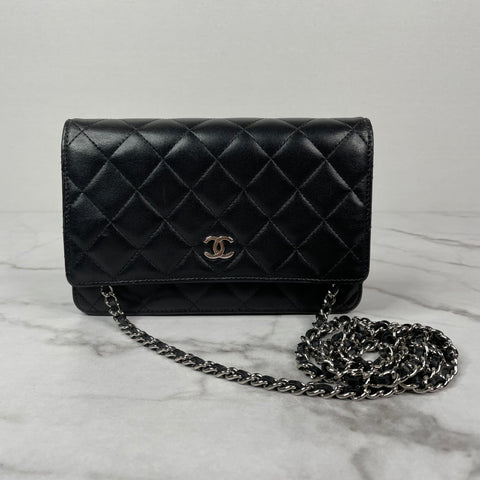Chanel Black Lambskin Wallet on Chain (WOC) with Silver Hardware