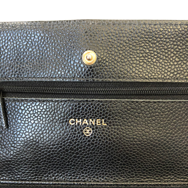 Chanel Black Caviar Wallet on Chain (WOC) with Gold Hardware