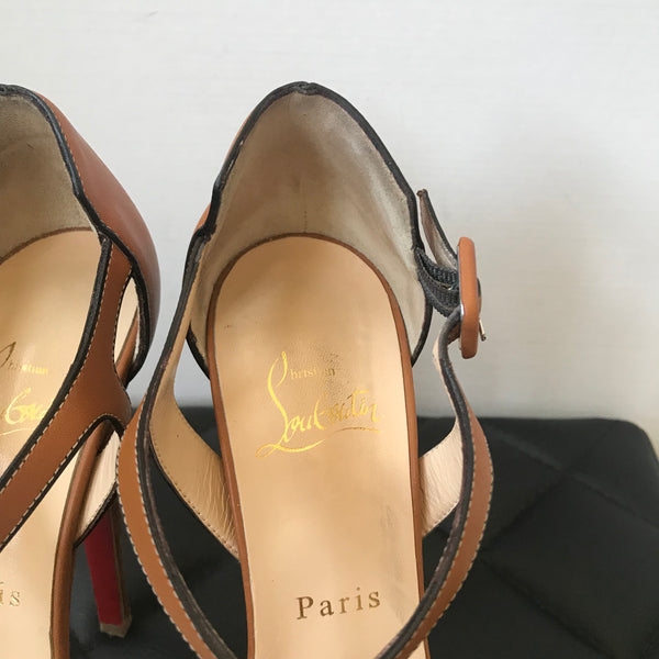Christian Louboutin Brown Sporting 140 Lucido Sandals Size 37