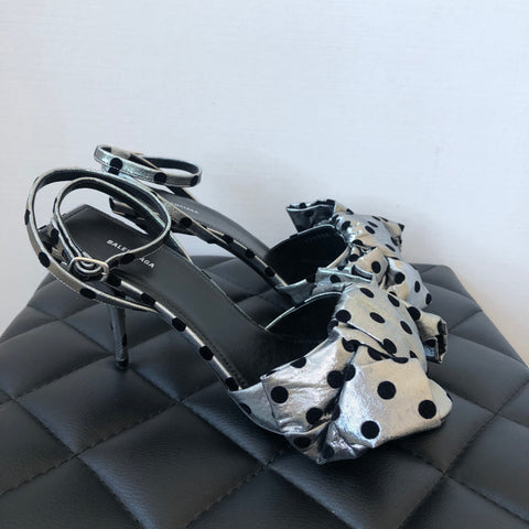 Balenciaga Square Knife Polka Dot Silver/Black Fabric Bow Sandals Size 38.5