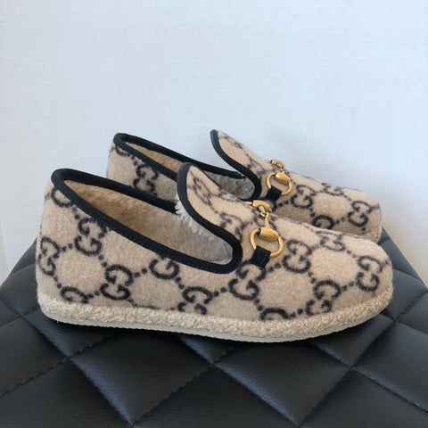 Gucci Beige Fria Covered Wool GG Loafers Size 37