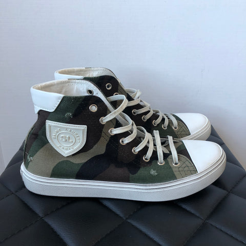 Saint Laurent Camo Bedford Distressed Patch Sneakers Size 38.5