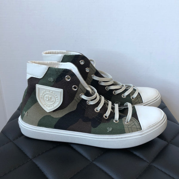 Saint Laurent Camo Bedford Distressed Patch Sneakers Size 38