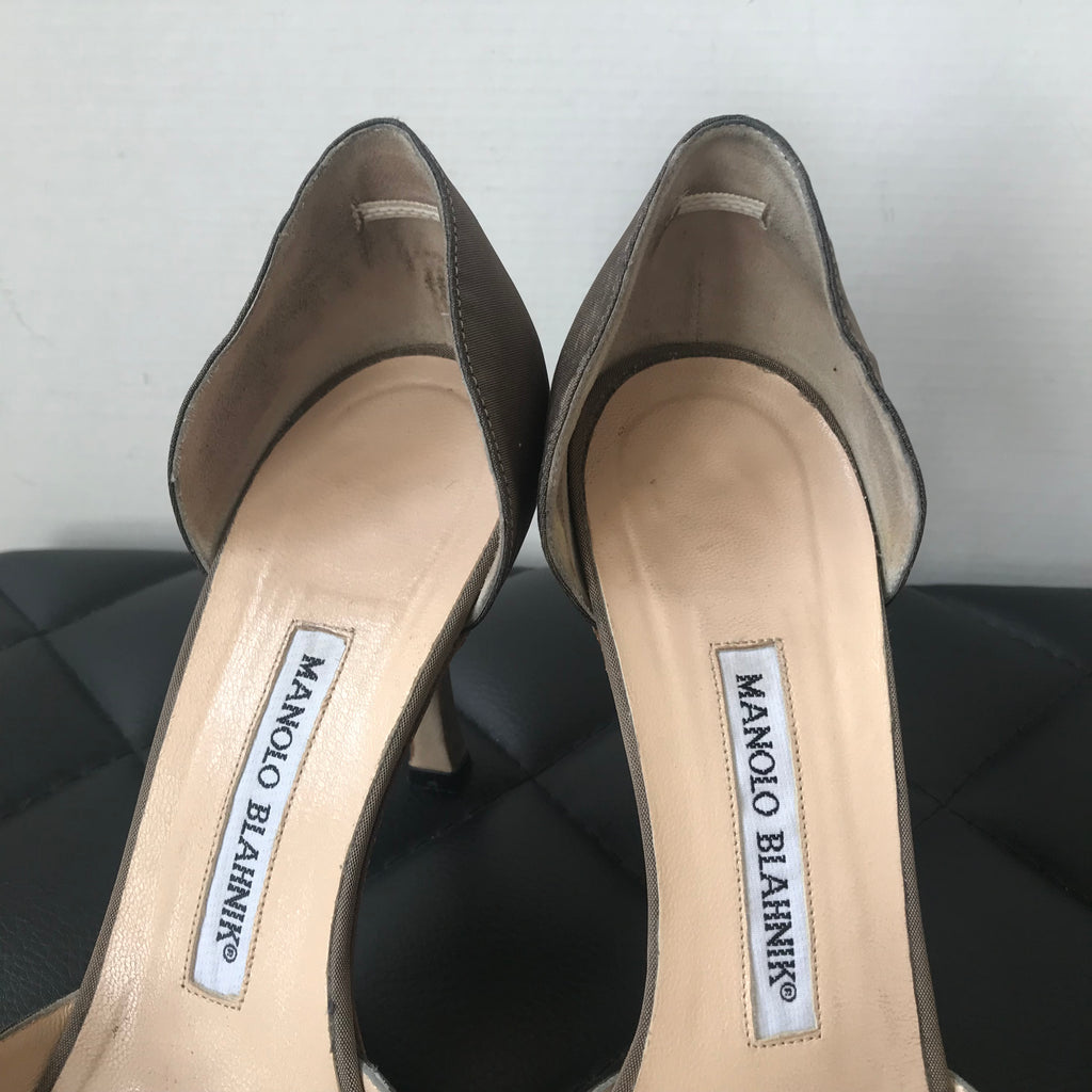 2d4137acd308 ... Manolo Blahnik Satin Brown Crystal Pumps Size 37.5 ...