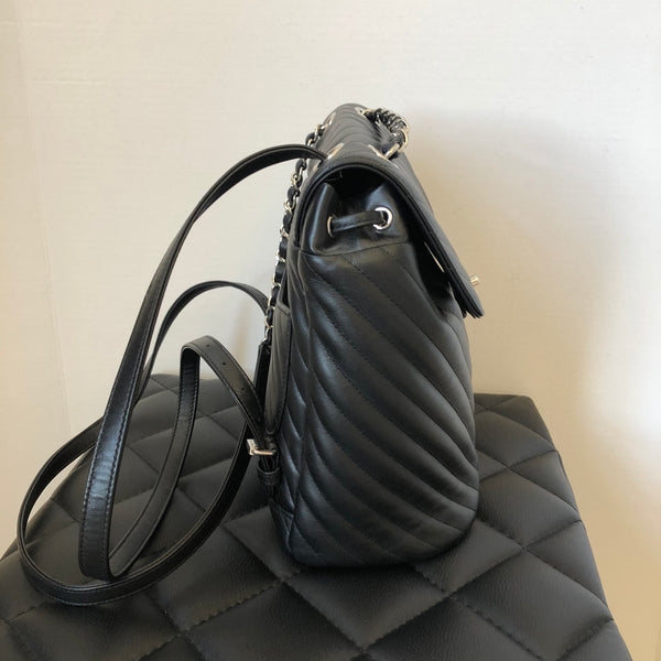 CHANEL Black Calfskin Chevron Quilted Small Urban Spirit Backpack