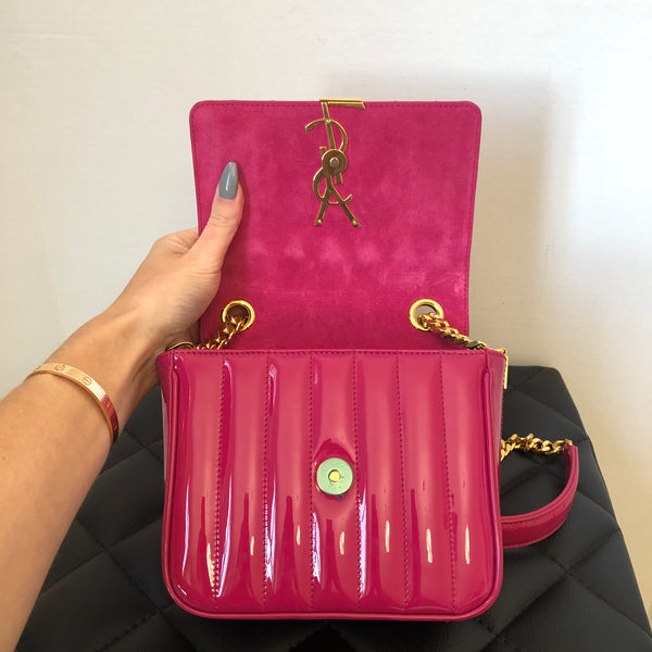 Saint Laurent Fuchsia Patent Small Vicky Crossbody Bag