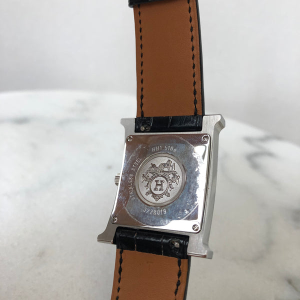 Hermes Heure H 26mm MM Stainless Steel Black Alligator Strap and Diamonds Watch