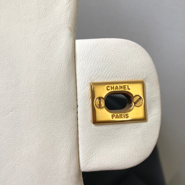 Chanel Vintage White Lambskin Small Double Flap Bag