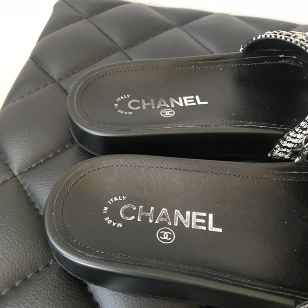 Chanel Black/White Tweed Mules/Slides Size 38